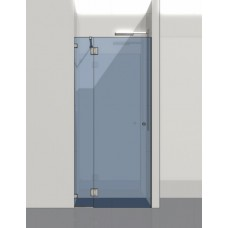 Душевая дверь со стационарной панелью и петлями стекло-стекло